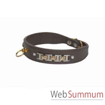 Collier terrier cuir facon agneau 30mm l.48cm-bracelet strass dore Sellerie Canine Vendéenne 32126