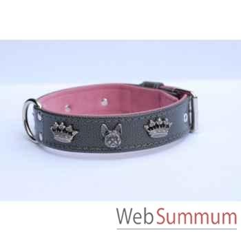 Collier vachette grainee dble nubuck 31mm l.45-55cm- tete et couronne Sellerie Canine Vendéenne 33800