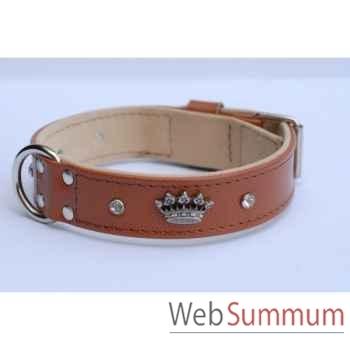 Collier vachette grainee dble nubuck 31mm l.45-55cm- strass+ couronne Sellerie Canine Vendéenne 33810