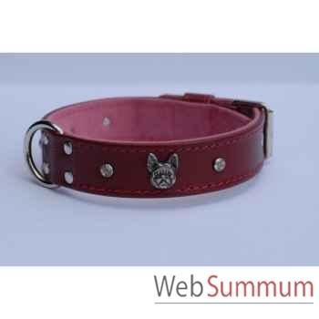 Collier vachette grainee dble nubuck 31mm l.45-55cm-tete bdf+strass Sellerie Canine Vendéenne 33830