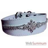 collier whippet cuir facon agneau 34 cm edelweiss de strass sellerie canine vendeenne 34835