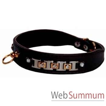 Collier terrier cuir facon agneau 26 mm l. 43cm- bracelet strass nick Sellerie Canine Vendéenne 35690