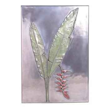 Décoration murale-Modèle Hanging Heliconia Positive Wall Plaque, surface aluminium-bs2306alu
