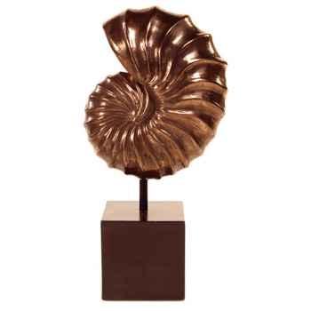 Sculpture-Modèle Nautilus Table Sculpture Box Pedestal, surface bronze nouveau et fer-bs1713nb/iro