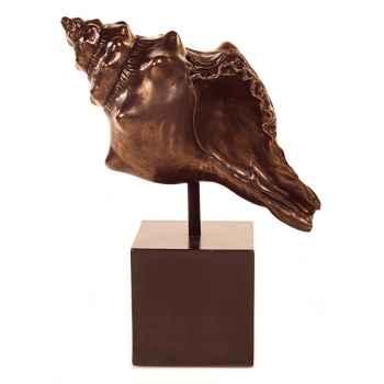 Sculpture-Modèle Conch Table Sculture w. Box Pedestal, surface bronze nouveau et fer-bs1715nb/iro