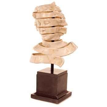 Sculpture-Modèle Ribbon Head Bust, surface aluminium et fer-bs1728alu/iro
