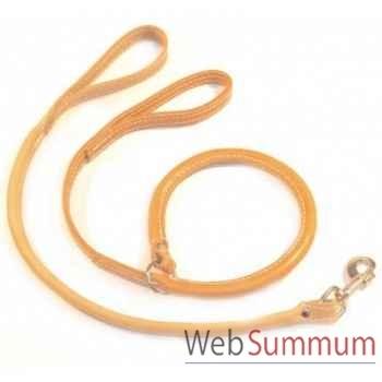 Laisse et collier demi-rond cuir naturel ou huile l. 1 m Sellerie Canine Vendéenne 78101