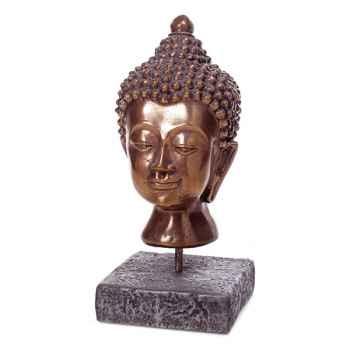 Sculpture-Modèle Buddha Head, surface aluminium et fer-bs3139alu/iro