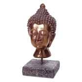 sculpture modele buddha head surface gres combines avec du fer bs3139gry iro