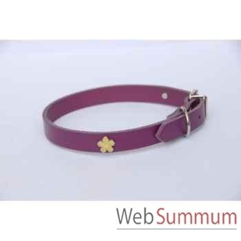 Collier cuir classique 10mm l. 31cm- fleur peinte Sellerie Canine Vendéenne 80350