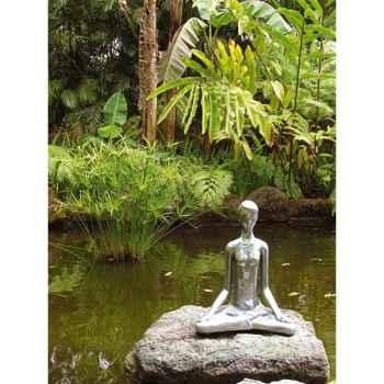 Sculpture-Modèle Yoga Meditation Pose, surface aluminium-bs1511alu