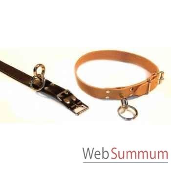 Collier cuir classique d'attache avec touret l. 62 cm Sellerie Canine Vendéenne 80831