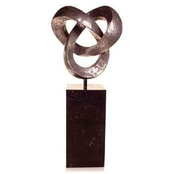 Sculpture-Modèle Trifoil Garden Sculpture, surface bronze nouveau-bs3410nb/alabnp