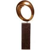 sculpture modele hoop garden sculpture surface aluminium et albatre noir bs3409alu alab
