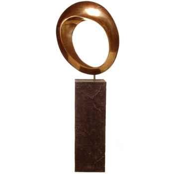 Sculpture-Modèle Hoop Garden Sculpture, surface aluminium et albatre noir-bs3409alu/alab