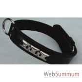 collier cuir classique double cuir 31 mm 45 50 55cm motif gourmett sellerie canine vendeenne 82529