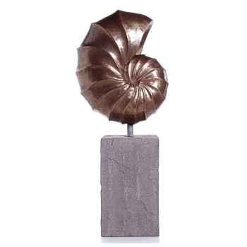 Sculpture-Modèle Nautilus Giant Garden Sculpture, surface aluminium-bs3318alu/lava