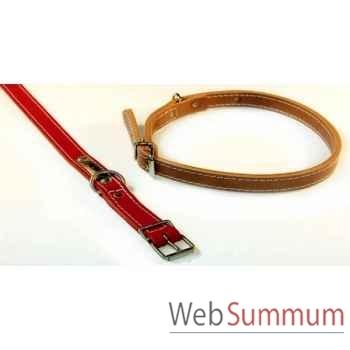 Collier cuir classique double 22 mm l.55 cm Sellerie Canine Vendéenne 83402