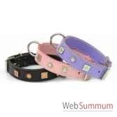 collier cuir classique dble 31 mm 45cm fleurs et soleisellerie canine vendeenne 83470