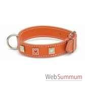 collier cuir classique dble 31mm l50cm carre coeur peint sellerie canine vendeenne 83476