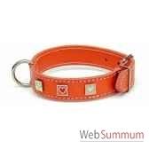 collier cuir classique dble 31mm l55cm carre coeur peint sellerie canine vendeenne 83477