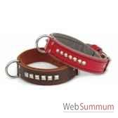 collier cuir pfleur double 31mm l45 55 cm clous pyramides sellerie canine vendeenne 83502