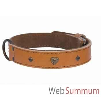 Collier cuir pl. fleur dble 31mm l. 45-50-55cm- coeur bronze Sellerie Canine Vendéenne 83514