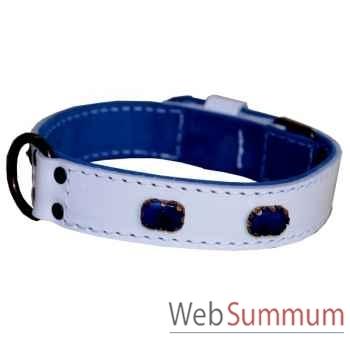 Collier cuir pl. fleur dble 31mm l. 45-50-55 cm- brique bleue-boucl b Sellerie Canine Vendéenne 83516
