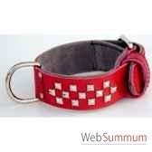 collier cuir pfleur 45mm l60 65 70cm 3 rgs clous pyramides sellerie canine vendeenne 83552