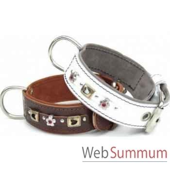 Collier terrier cuir dble cuir 60mm l.65 a 75cm- coeurs et fleurs Sellerie Canine Vendéenne 83583