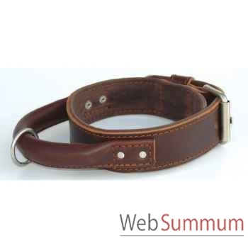 Collier inter cuir dble cuir 43mm l.70-80cm- poignee ronde Sellerie Canine Vendéenne 83611