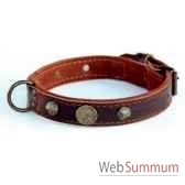 collier cuir pfleur dble nubuck 26mm l45 55cm 1 rg clous ogives sellerie canine vendeenne 83776