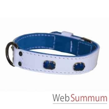 Collier cuir pl.fleur dble nubuck 31mm l. 45-50-55cm-brique bleue-bro Sellerie Canine Vendéenne 83815