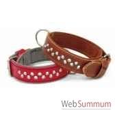 collier cuir pfleur dble nubuck 35mm l50 60cm 2rgs clous coniques sellerie canine vendeenne 83823