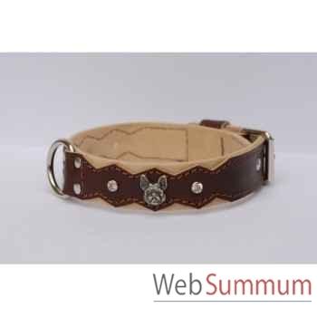 Collier dent. cuir pl. fleur dble nubuck 35mm l.45-55cm-tete +strass Sellerie Canine Vendéenne 83826