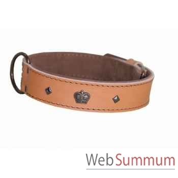 Collier cuir pl fleur dble nubuck 35mm l.50-55-60cm-couronne bronze Sellerie Canine Vendéenne 83839