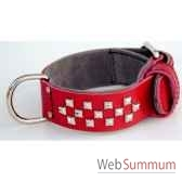 collier cuir pfleur dble nubuck 45mm 60 70 cm 3 rgs clous pyram sellerie canine vendeenne 83852
