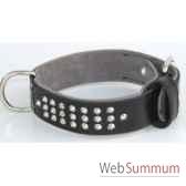 collier cuir pfleur dble nubuck 45 mm l60 70cm 3rgs clous conique sellerie canine vendeenne 83853