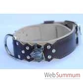 collier cuir pfleur dble nubuck 45mm l55 70cm tete strass sellerie canine vendeenne 83858