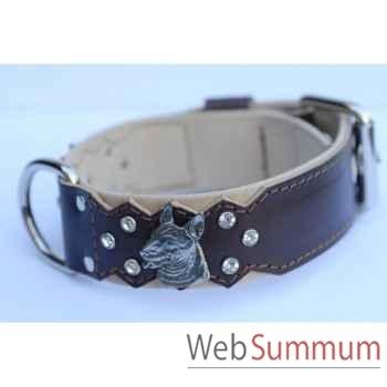 Collier cuir pl. fleur dble nubuck 45mm l.55-70cm-tete + strass Sellerie Canine Vendéenne 83858