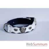 collier cuir pfleur dble nubuck 45mm l55 70cm tete couronne sellerie canine vendeenne 83867