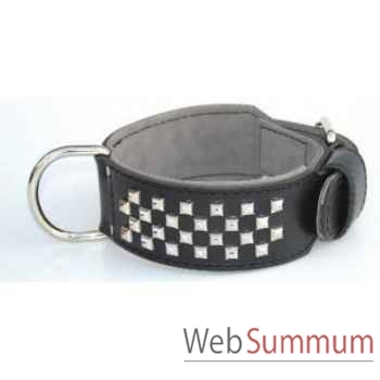 Collier terrier cuir dble nubuck 60mm l. 65a75cm-4rgs clous pyramides Sellerie Canine Vendéenne 83872
