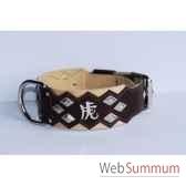 collier dent cuir pfleur dble nub 60mm 60 75cm chinoislosange sellerie canine vendeenne 83880