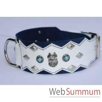 Collier dent. cuir dble nubuck 85mm l. 70-80cm- tete+perle+losange Sellerie Canine Vendéenne 83891
