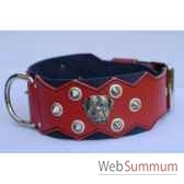 collier dent cuir pfleur dble nub 80mm l65 80cm pointetete rot sellerie canine vendeenne 83893