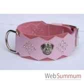 collier dent cuir pfleur dble nub 80mm l65 80cm tete strass sellerie canine vendeenne 83896