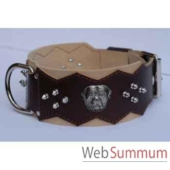 Collier dent. cuir dble nubuck 80 mm l.65-80cm-tete+clous ogives Sellerie Canine Vendéenne 83897