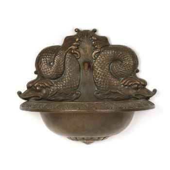 Fontaine-Modèle Garden Cupid avec une représentation de poisson, surface grès-bs3177sa