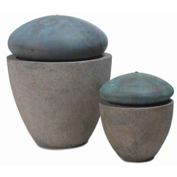 Fontaine-Modèle Thimble Fountain Small, surface granite avec bronze-bs3504gry/vb