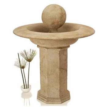 Fontaine-Modèle Carva Ball Fountain on Octagonal Pedestal, surface pierre romaine-bs4066ros